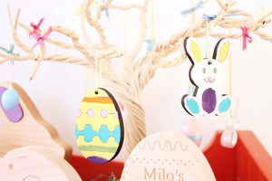 wooden paint your own Easter tree egg and bunny ornaments