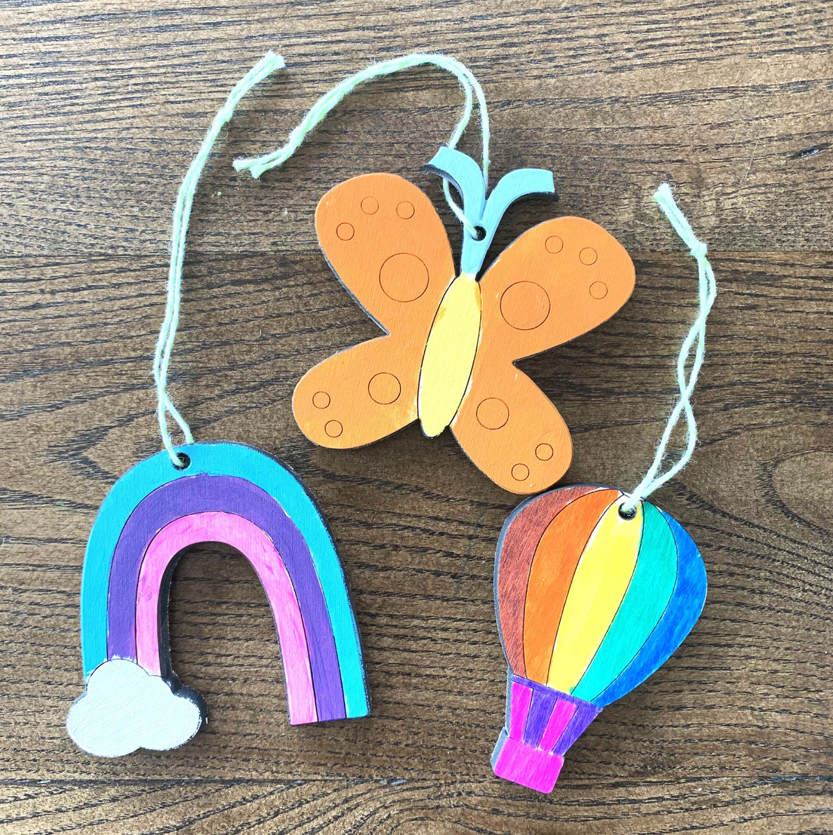 unfinished paintable wooden ornament charms for kids