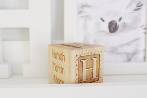 custom engraved wooden baby girl block