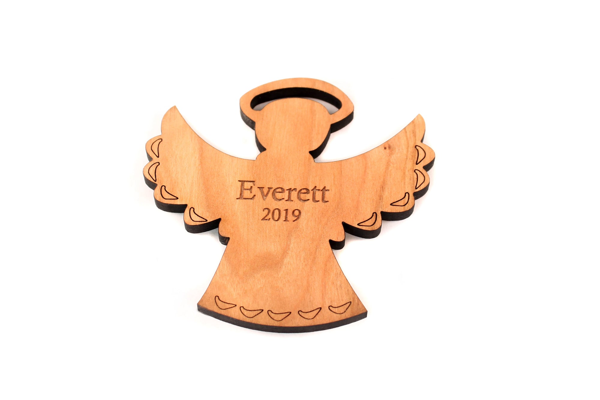 Personalized angel wood ornament