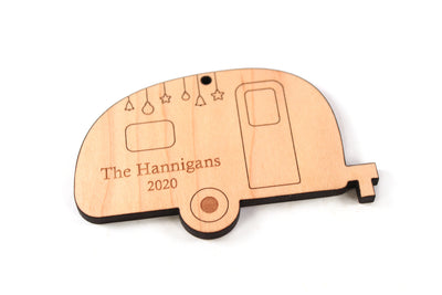 personalized camper or camping wooden Christmas ornament
