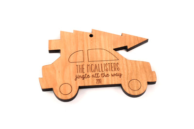 personalized car with tree ornament