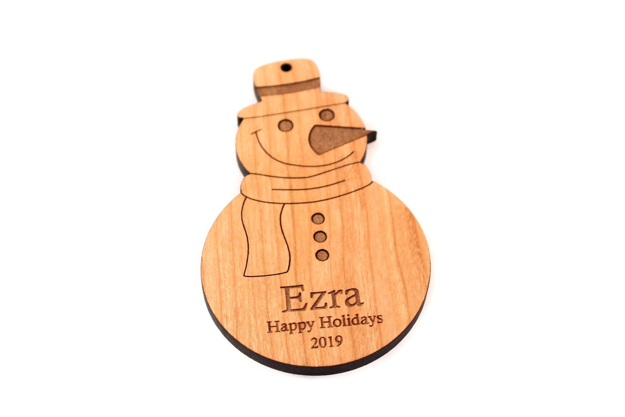 personalized snowman wooden ornament