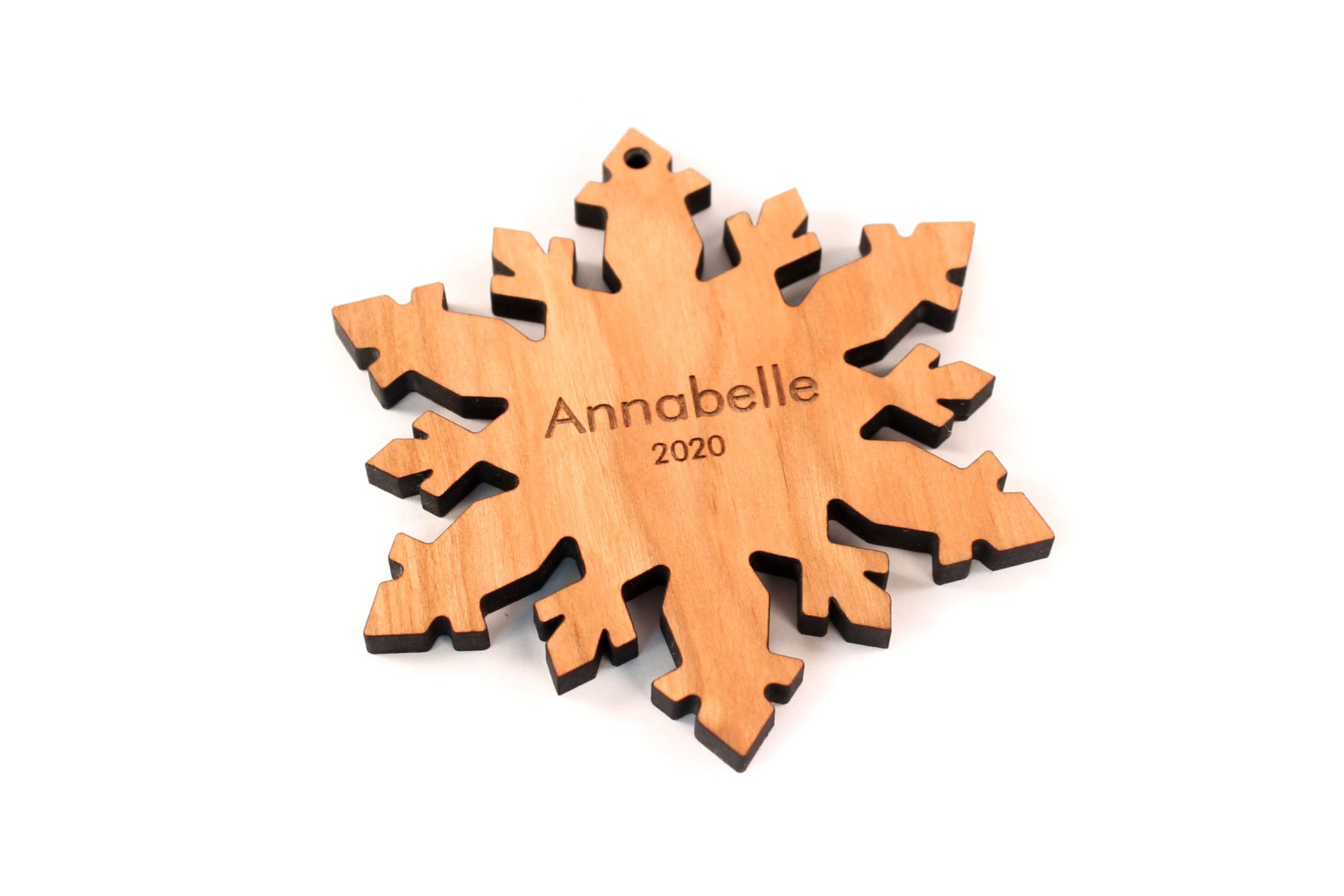 personalized snowflake wooden ornament