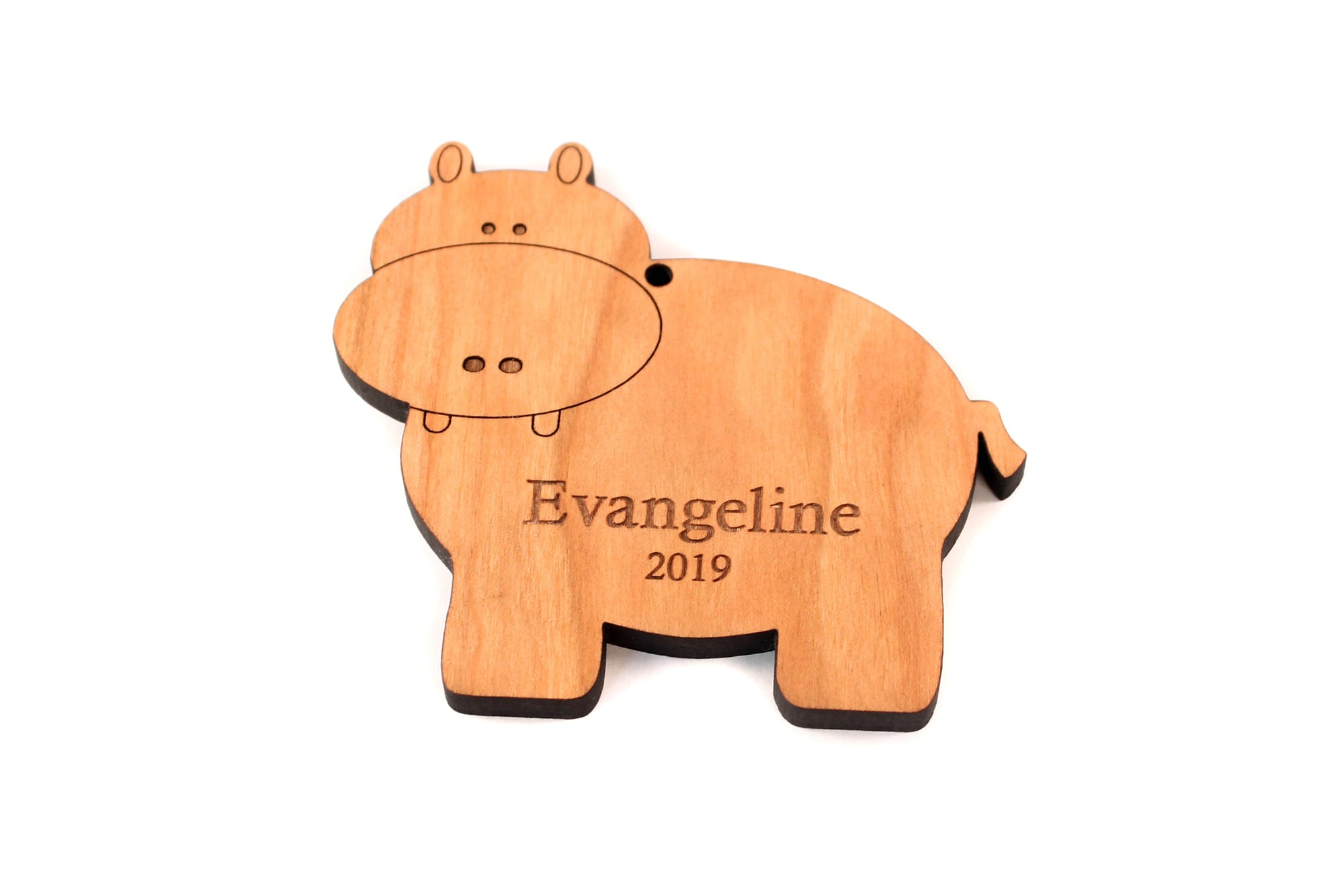 personalized wooden hippo ornament