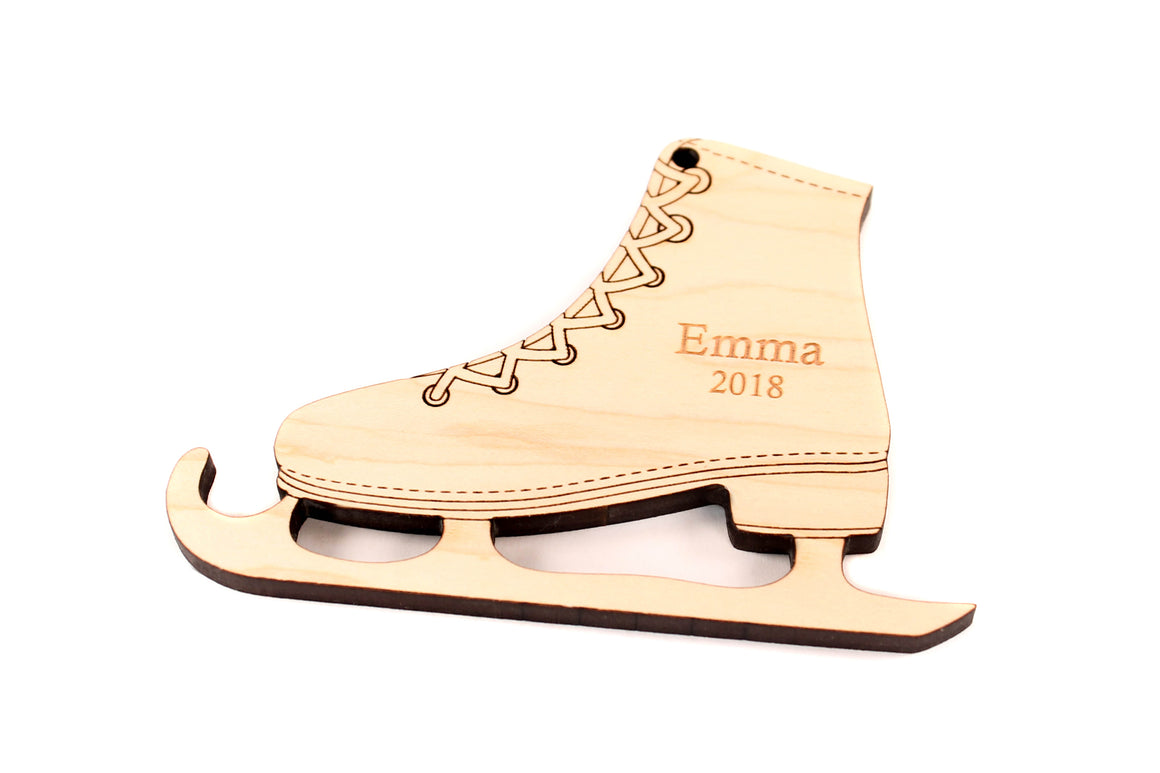 personalized ice skate ornament