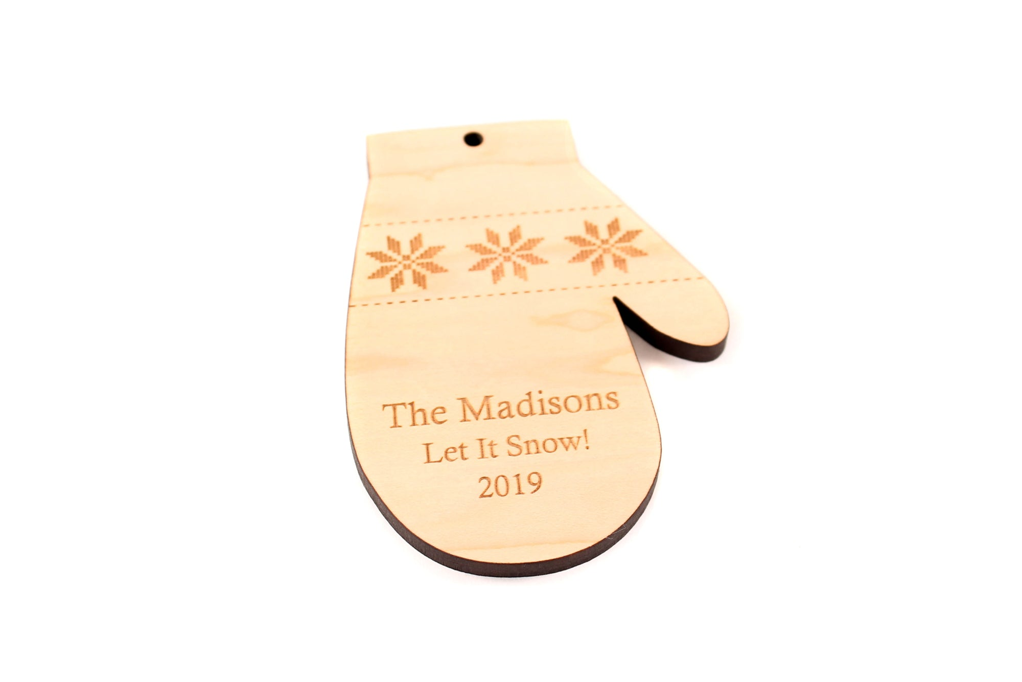 personalized wooden mitten ornament