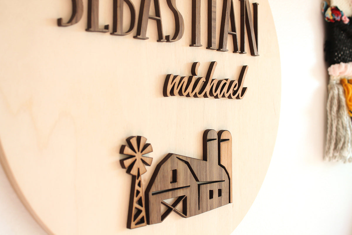wooden name sign for boy farm nursery theme