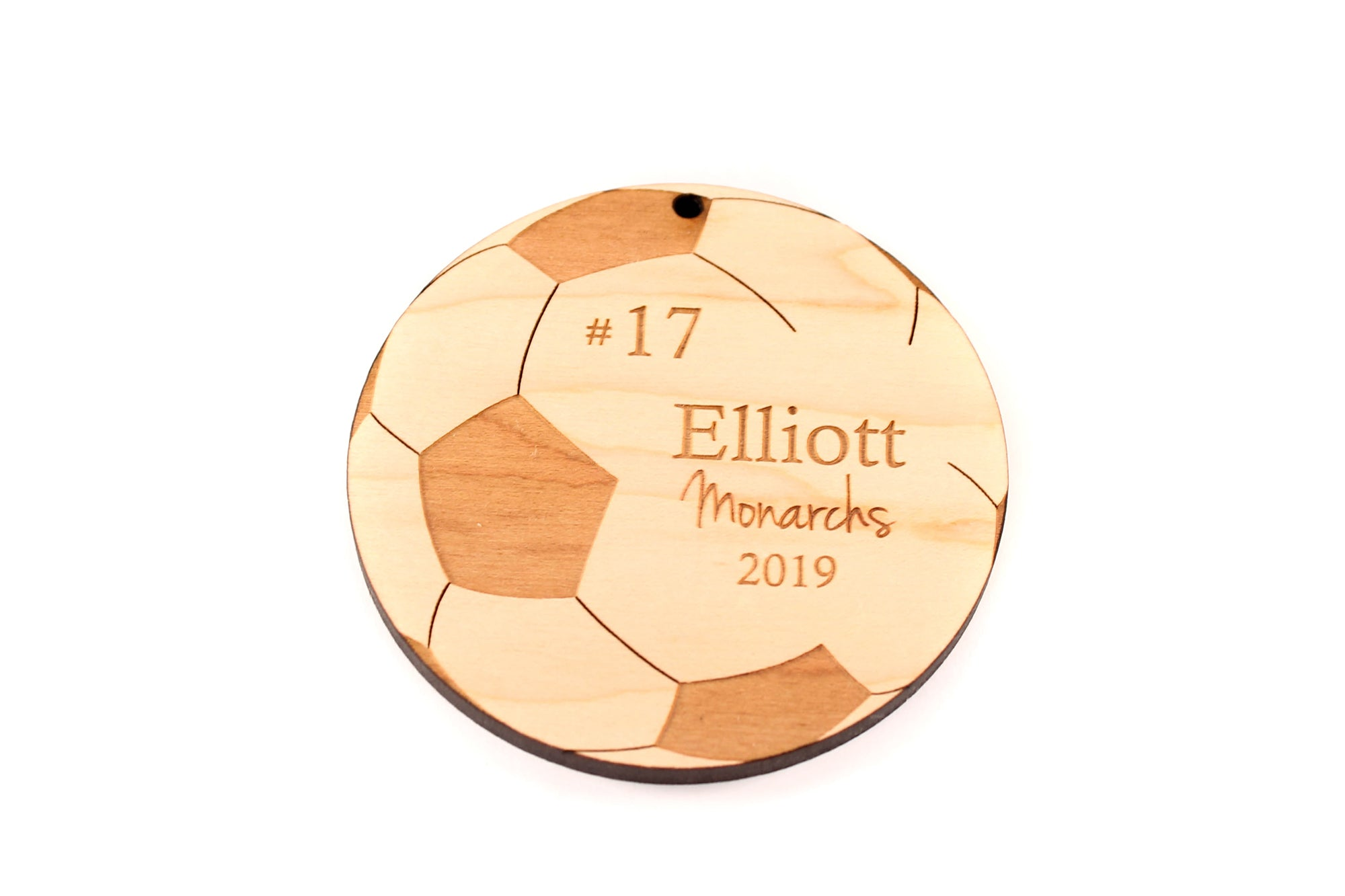personalized wooden Soccer Ball Christmas ornaments