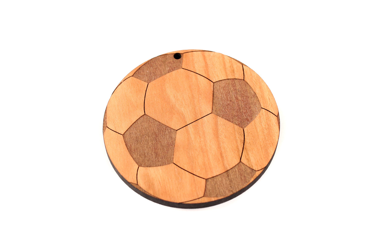 engraved soccer ball wooden ornament