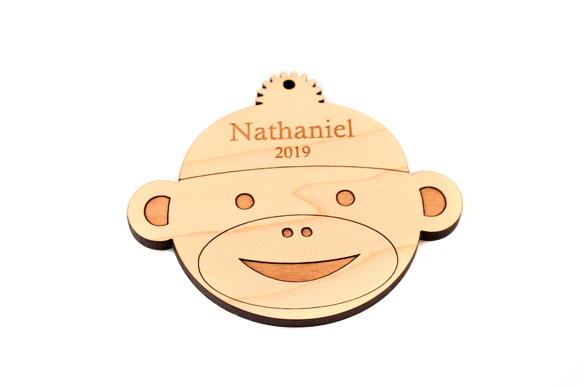 personalized wooden monkey ornament