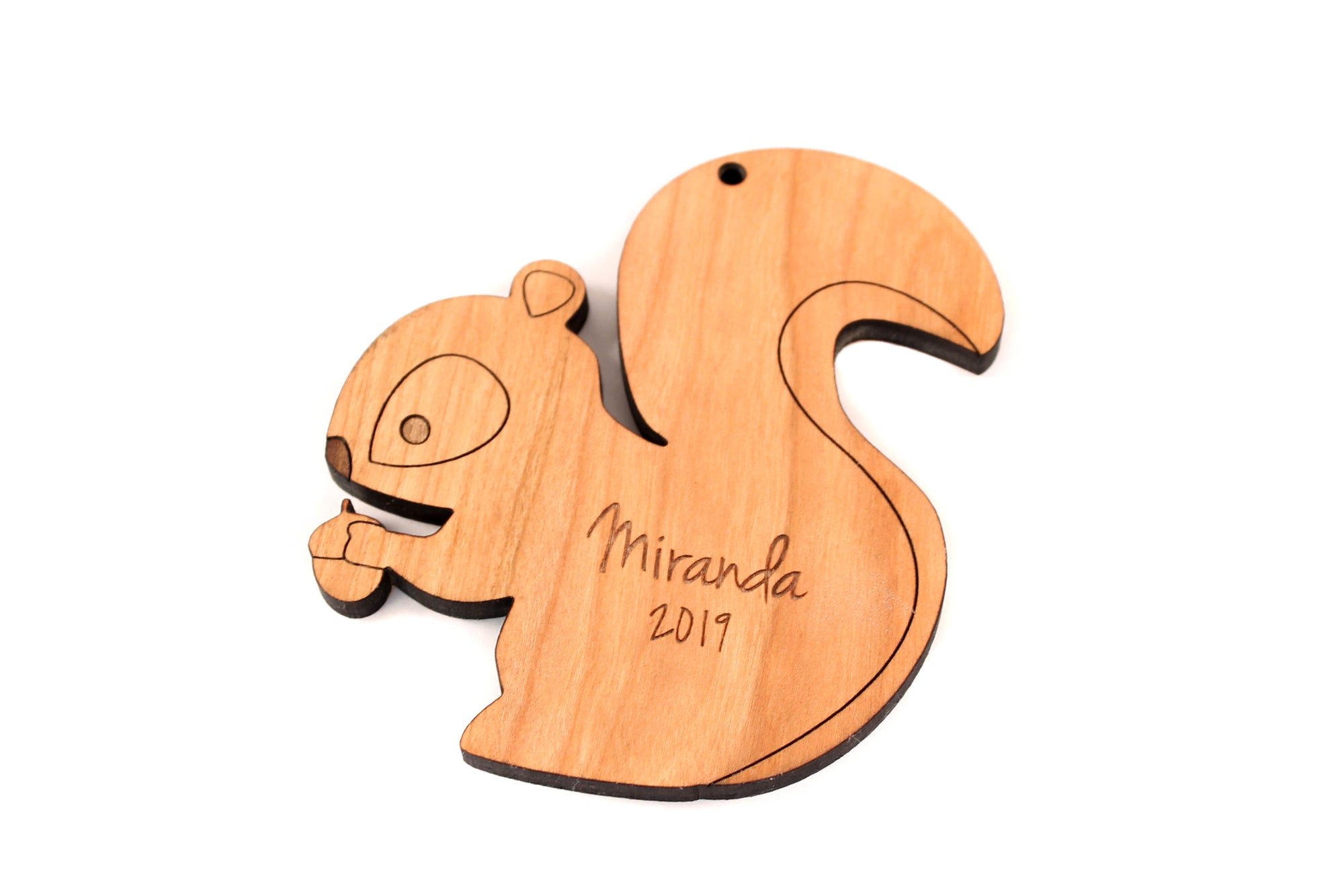 personalized squirrel wooden ornament