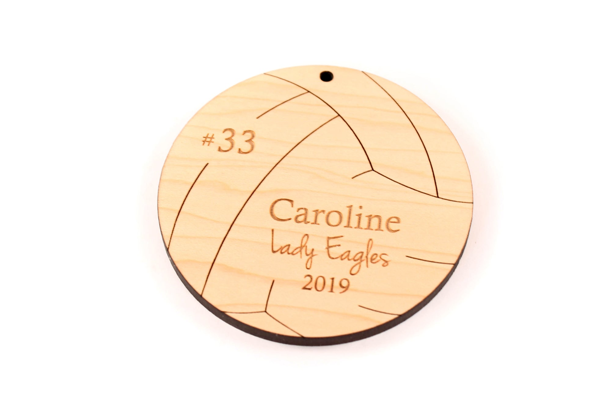 personalized volleyball christmas ornament wood