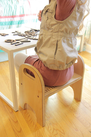 handmade childrens wooden step stool
