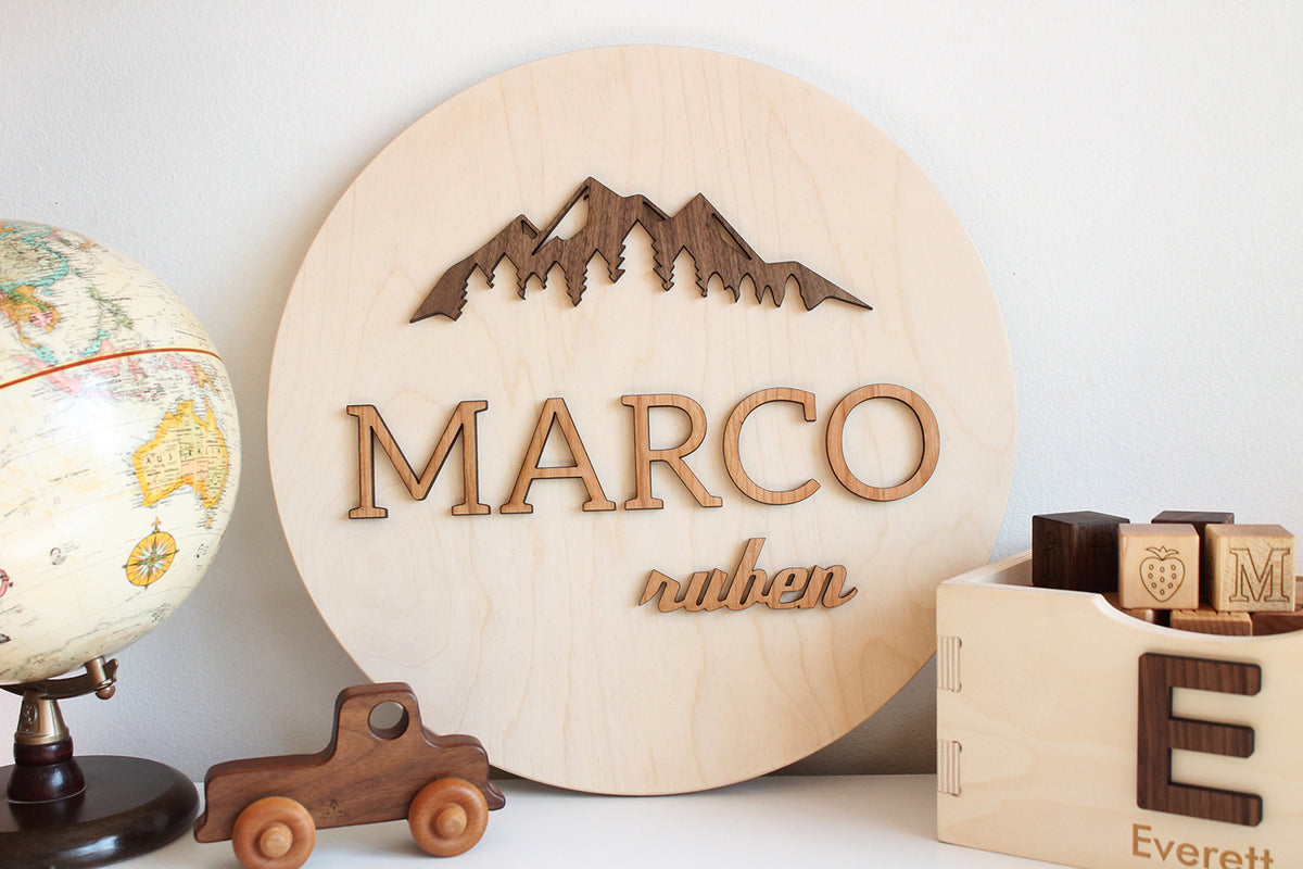 personalized name sign with mountains Smiling Tree Toys