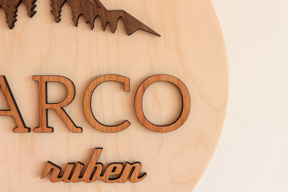 name sign for nursery mountain theme wooden decor
