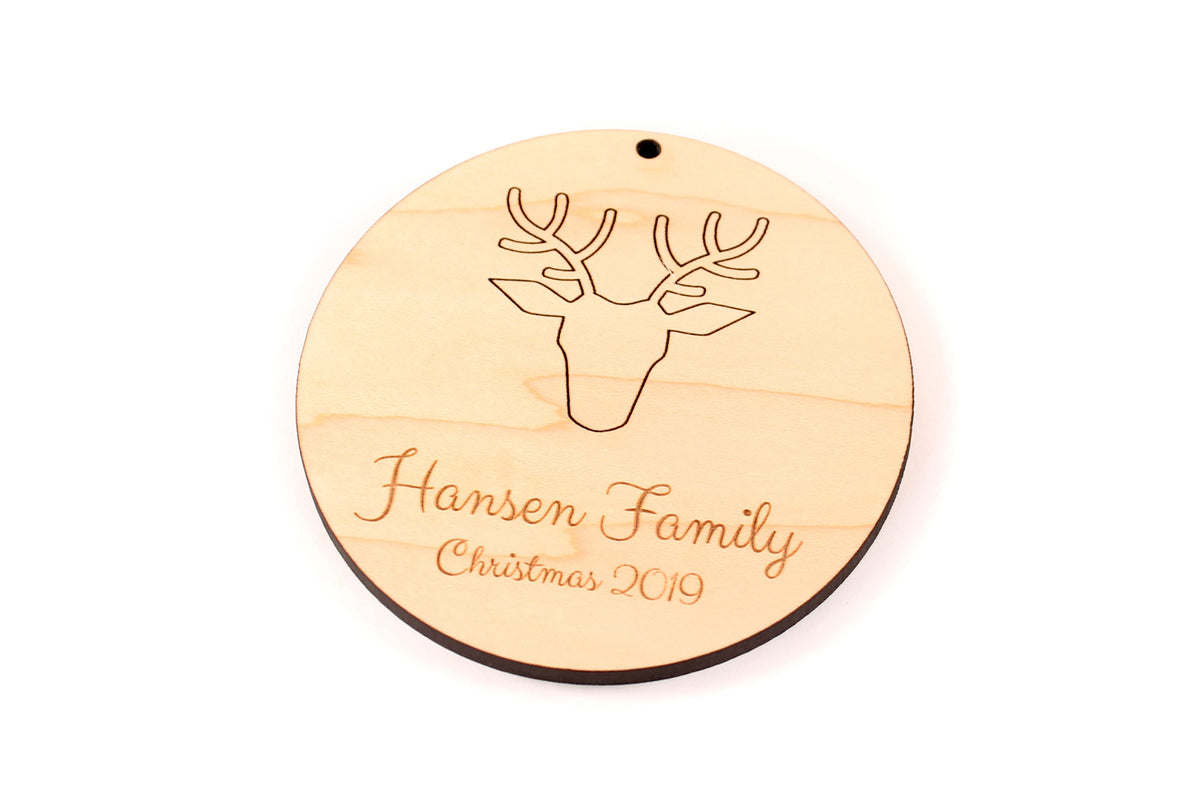 personalized deer antler ornament