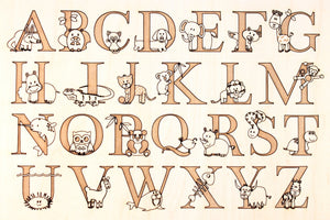 Smiling Tree's engraved animal alphabet chart
