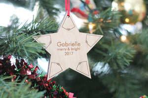 personalized Christmas star ornament for the Christmas tree