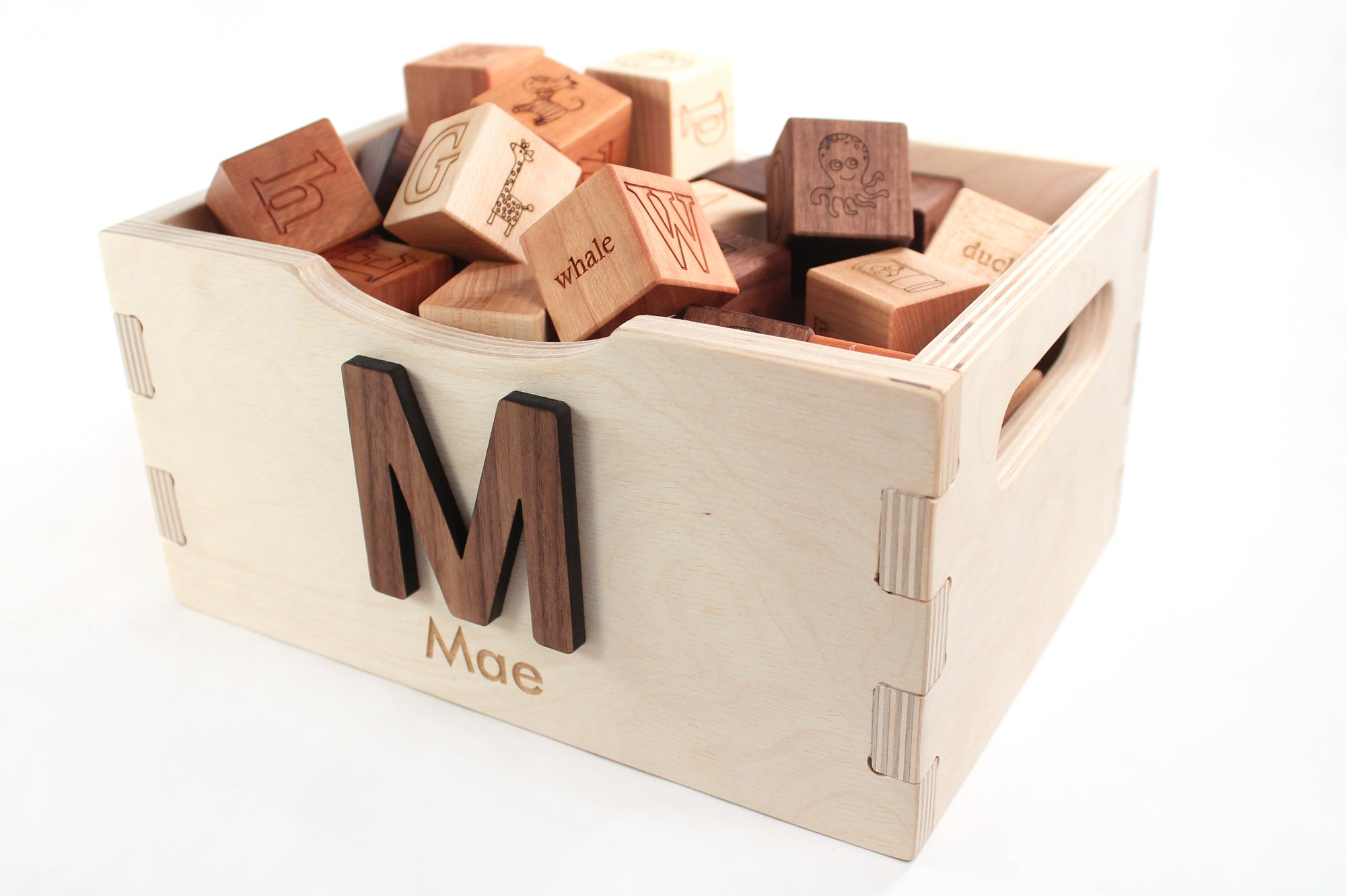 wood alphabet blocks with box - personalized natural wood toys by Smiling Tree Toys