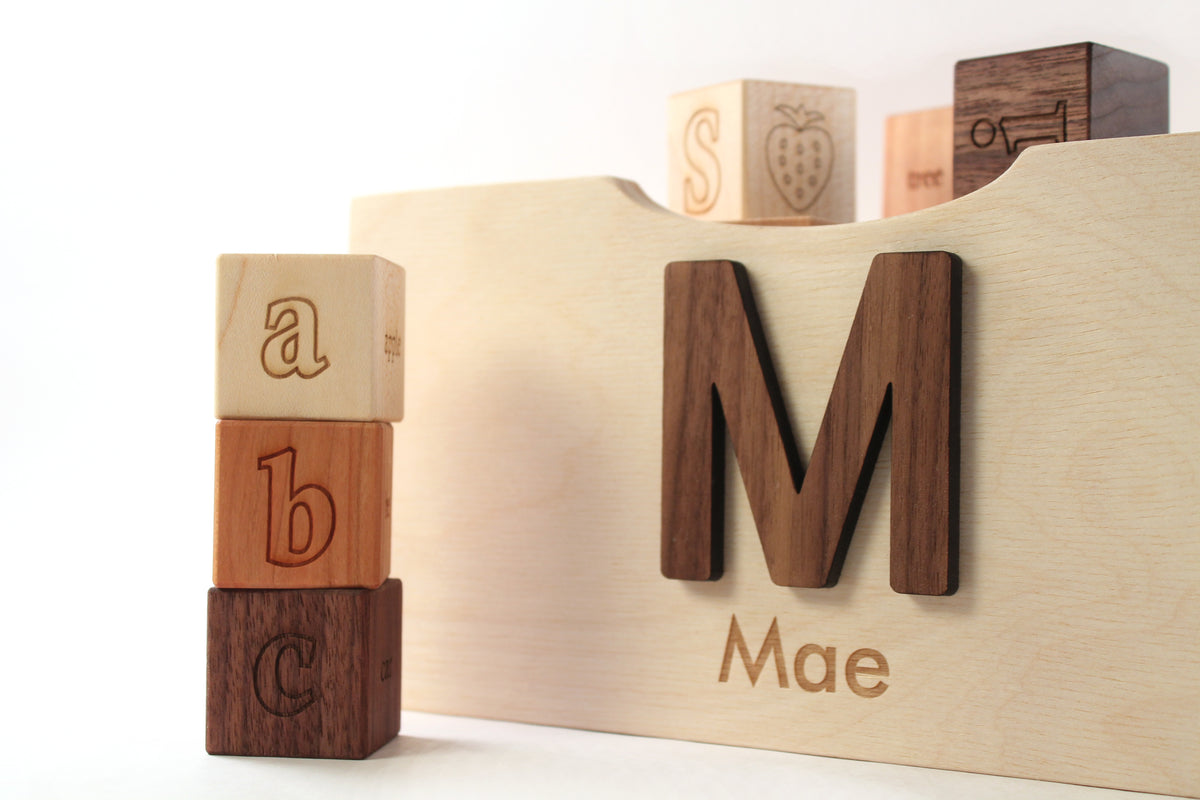 wooden letter blocks with personalized box crate - Smiling Tree Toys