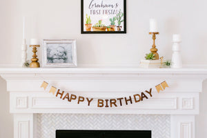 wooden happy birthday banner