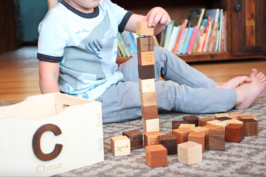 wooden blocks in box for first Christmas gift