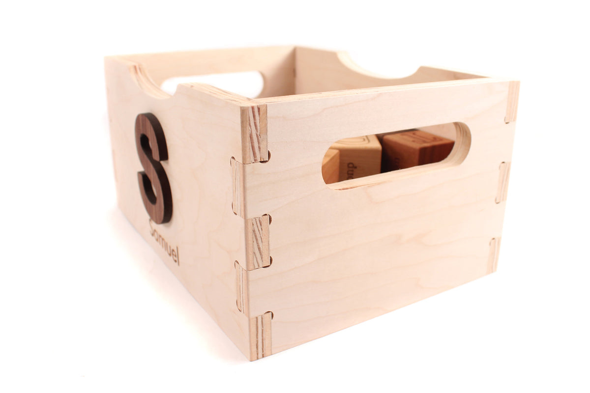 handmade wooden toy box for blocks
