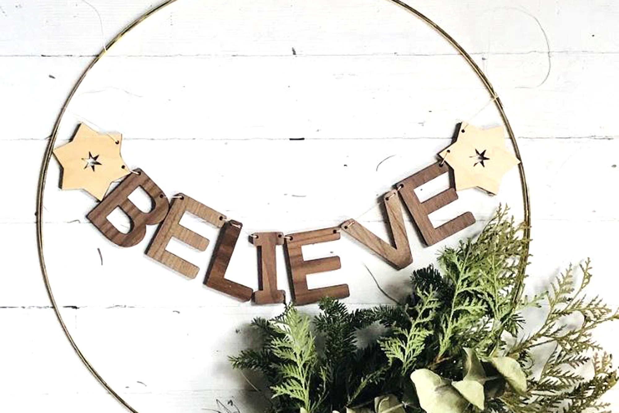 farmhouse christmas decor - wooden letter wall hanging - believe