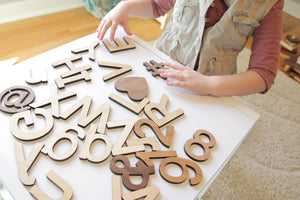 wooden cut out letters and numbers