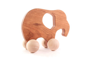 wooden toy elephant for baby and toddler