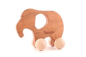 wooden elephant push toy