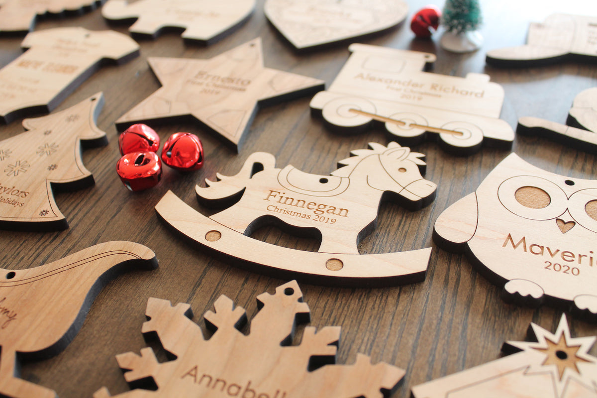 personalized wooden Christmas ornaments natural
