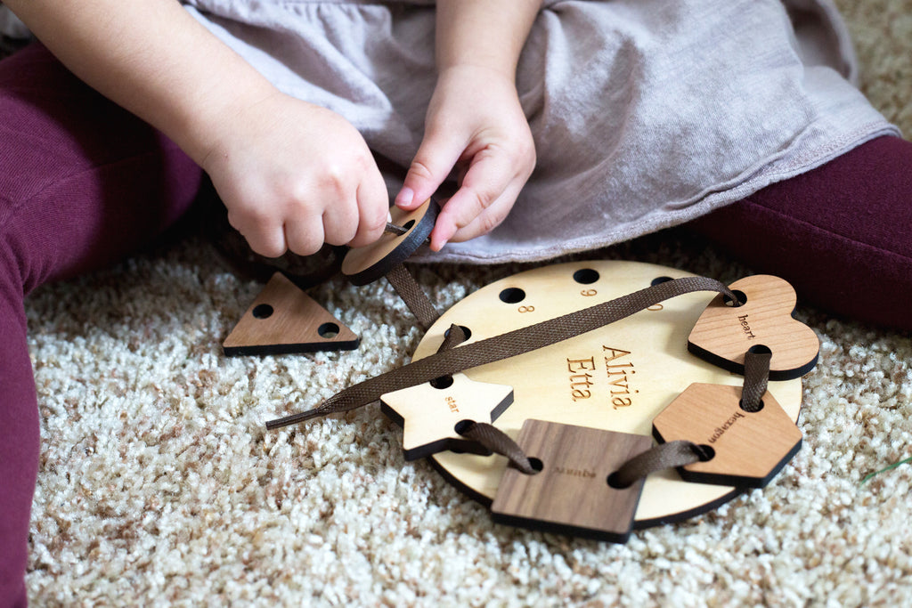 natural wooden lacing and tracing toy