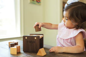 personalized wooden shape sorting box
