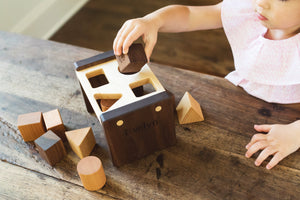 handmade wood shape sorter toy
