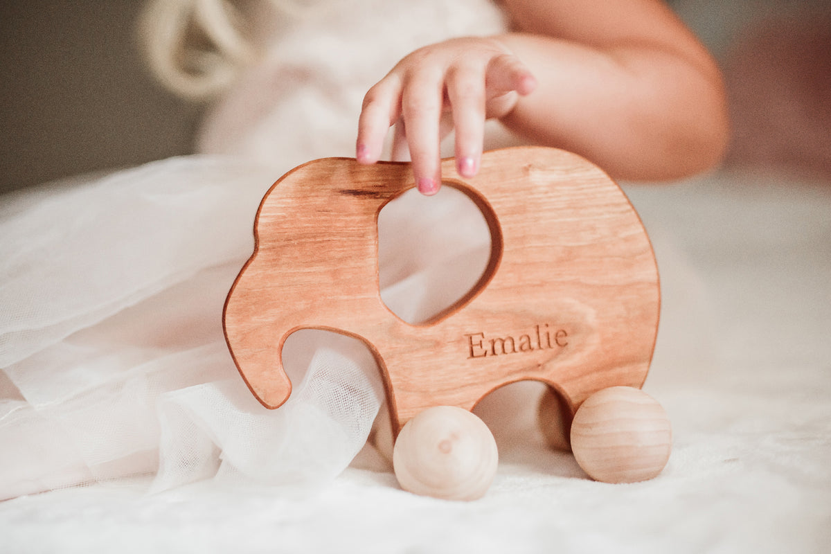 toy elephant wooden push toys for babies Smiling Tree Toys