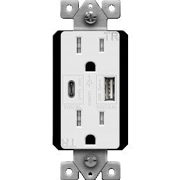 Enerlite 61501-TR2USB-1A1C-W Type C USB Receptacle - Ready Wholesale Electric Supply and Lighting