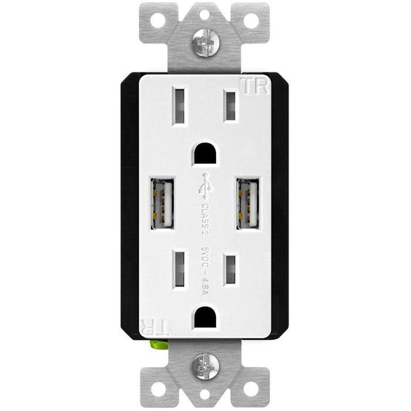 Enerlite 61501-TR2USB-CC-W Interchangeable Face Plate (Dual Usb 4.8a, Duplex Receptacle 15a) White - Ready Wholesale Electric Supply and Lighting