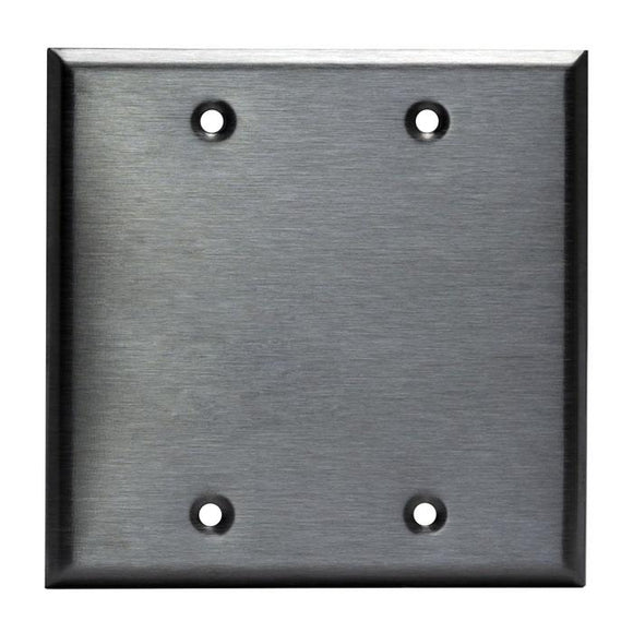 Enerlite 7702 2-Gang, Stainless Steel Commercial Grade Blank Metal Plate - Ready Wholesale Electric Supply and Lighting