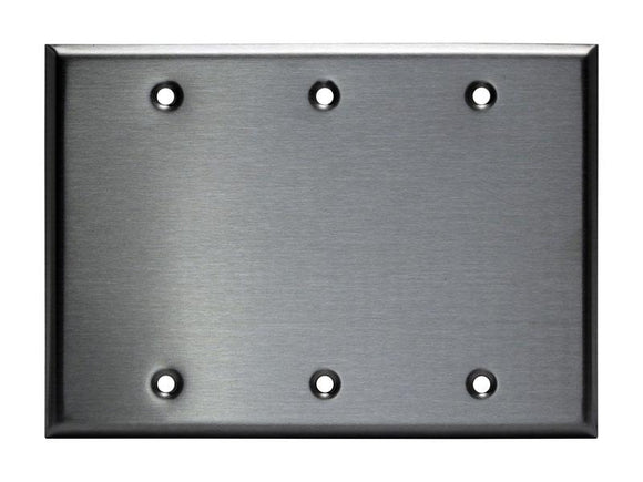 Enerlite 7703 3-Gang, Stainless Steel Commercial Grade Blank Metal Plate - Ready Wholesale Electric Supply and Lighting