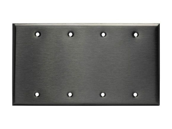 Enerlite 7704 4-Gang, Stainless Steel Commercial Grade Blank Metal Plate - Ready Wholesale Electric Supply and Lighting