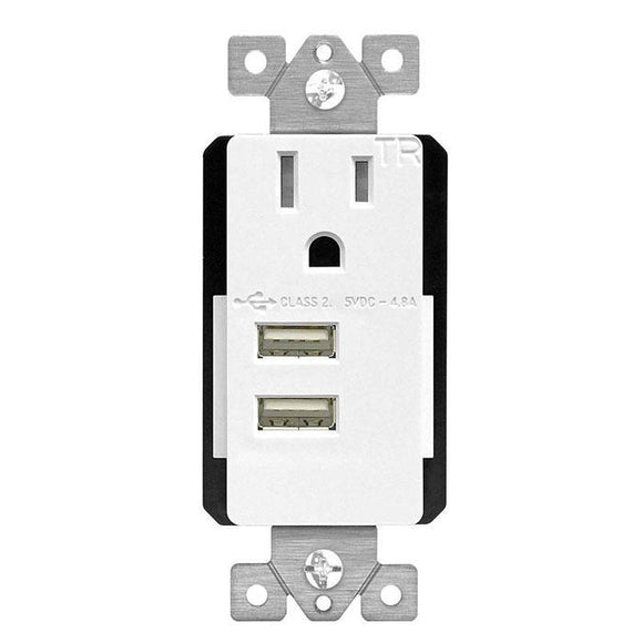 Enerlites  61200-TR2USB-CU - USB Receptacle 4.8A Ultra High Speed Interchangeable USB Charger Receptacle - Ready Wholesale Electric Supply and Lighting