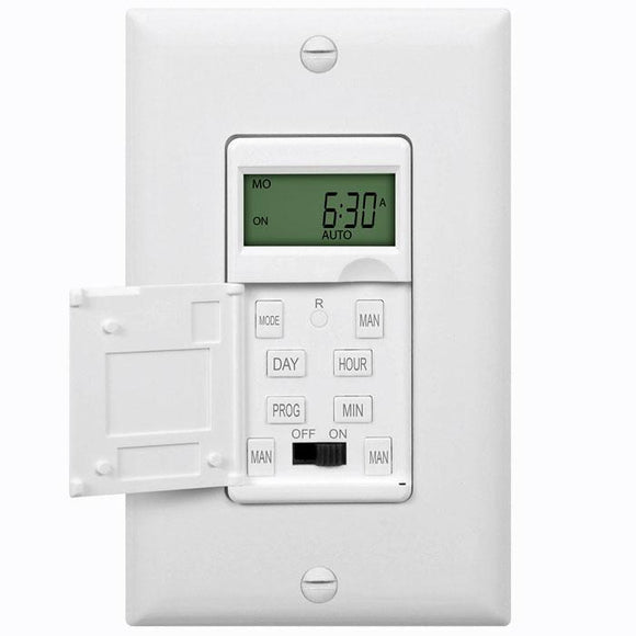 Enerlites HET01-C-W - 7-Day Digital In-Wall Programmable Timer Switch - Ready Wholesale Electric Supply and Lighting