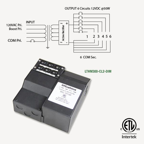 GM Lighting LTHM300-CL2-DIM 12VDC 6 x 50W Dimmable Magnetic Power Supply - Ready Wholesale Electric Supply and Lighting