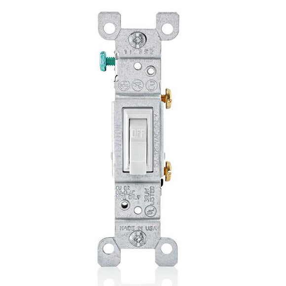 Leviton 1451 - 15 Amp, 120 Volt, Toggle Framed Single-Pole AC Quiet Switch, Residential Grade, Grounding, Quickwire Push-In & Side Wired - Ready Wholesale Electric Supply and Lighting