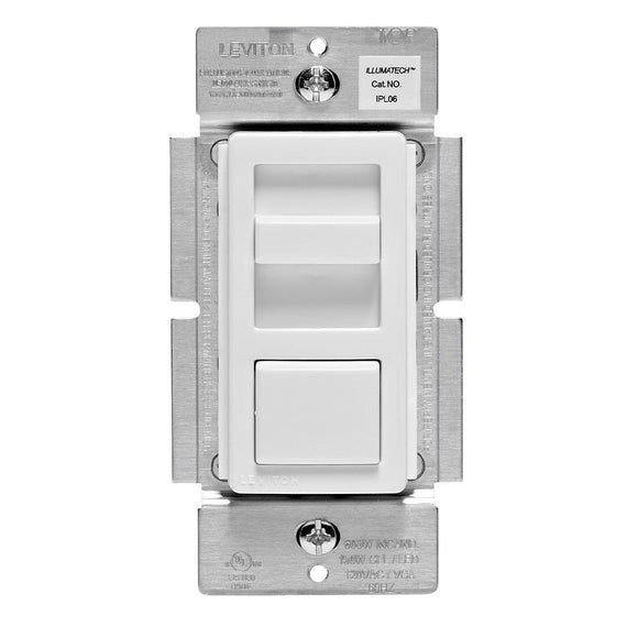 Leviton IPL06-10Z - IllumaTech Slide Dimmer for 150-Watt Dimmable LED/CFL, 600-Watt Incandescent/Halogen - Ready Wholesale Electric Supply and Lighting
