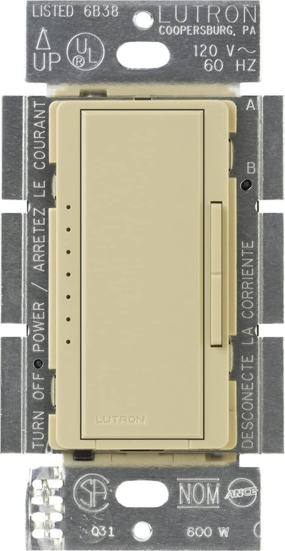 Lutron MA-600 Maestro (gloss) 600W, Single Pole or Multi-Location, Incandescent/Halogen Dimmer - Ready Wholesale Electric Supply and Lighting