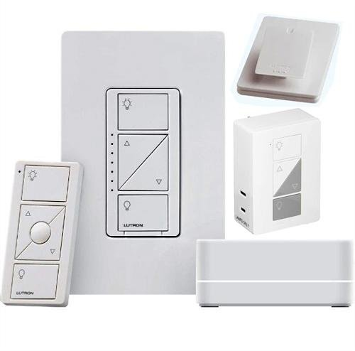 Lutron P-BDG-PKG1P Starter Kit with Smart Bridge, Plug-in Lamp Dimmer, Claro Wallplate, Pico Remote, Individual Tabletop Pedestal - Ready Wholesale Electric Supply and Lighting