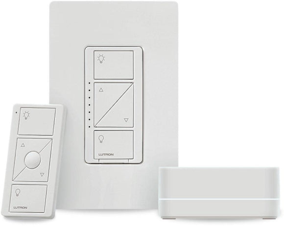 Lutron P-BDG-PKG1W - Caseta Wireless Dimmer Kit with Smart Bridge - White - Ready Wholesale Electric Supply and Lighting